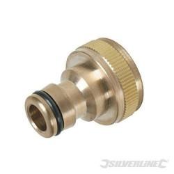 "Silverline Brass Garden Tap Hose Connector Adaptor  3/4""BSP"