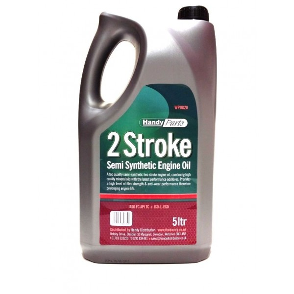 5 Litre Bottle of Semi Synthetic 2 Stroke Oil For Lawnmowers and Garden Machines