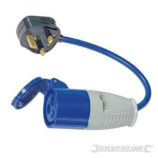 13A-16A Fly Lead Converter, For Generators,Camping or Caravanning Silverline Branded Part