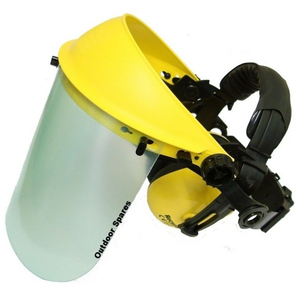 Face Shield with ear muffs & clear visor, optimum face and ear protection