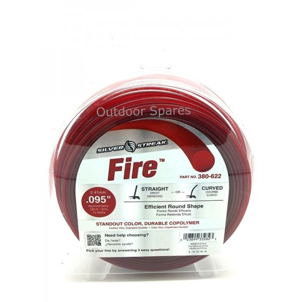 """Silver Streak """"Fire"""" 2.4mm Quality Round Nylon Line 285ft In Standout Red Colour"""