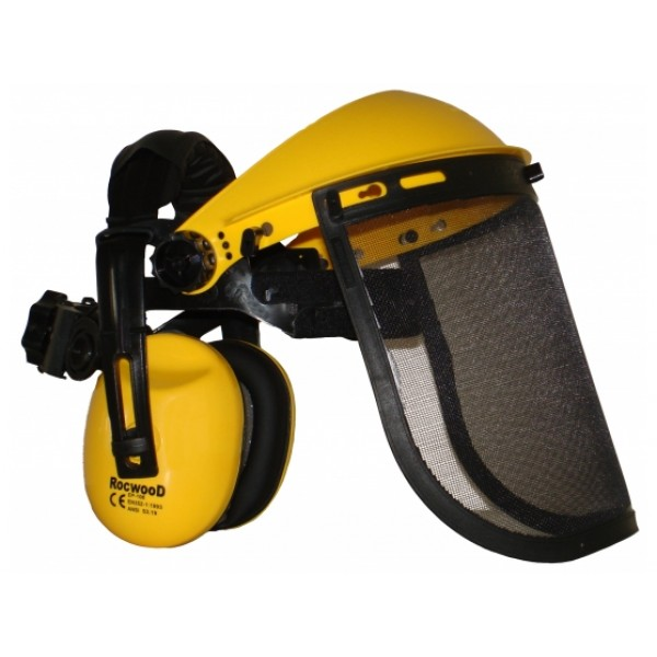 Face Shield with ear muffs & mesh visor, optimum face and ear protection